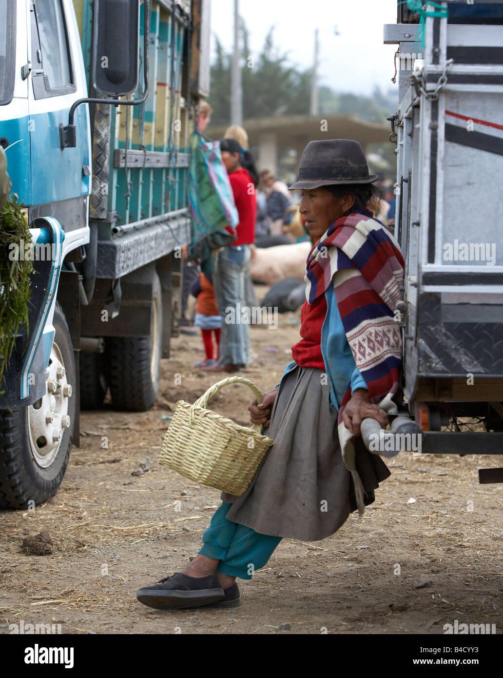 Woman at Saquisili Market, Ecuador - Stock Image