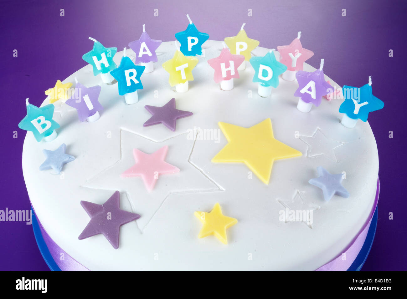 Iced Happy Birthday Cake On Purple Stock Photo 19955560 Alamy