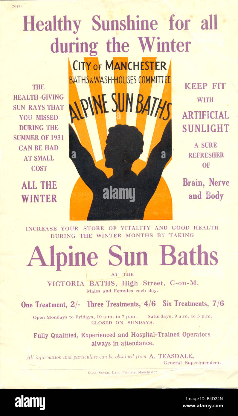 Advertising leaflet for Alpine Sun Baths at the Victoria Baths, Manchester, circa 1932 - Stock Image