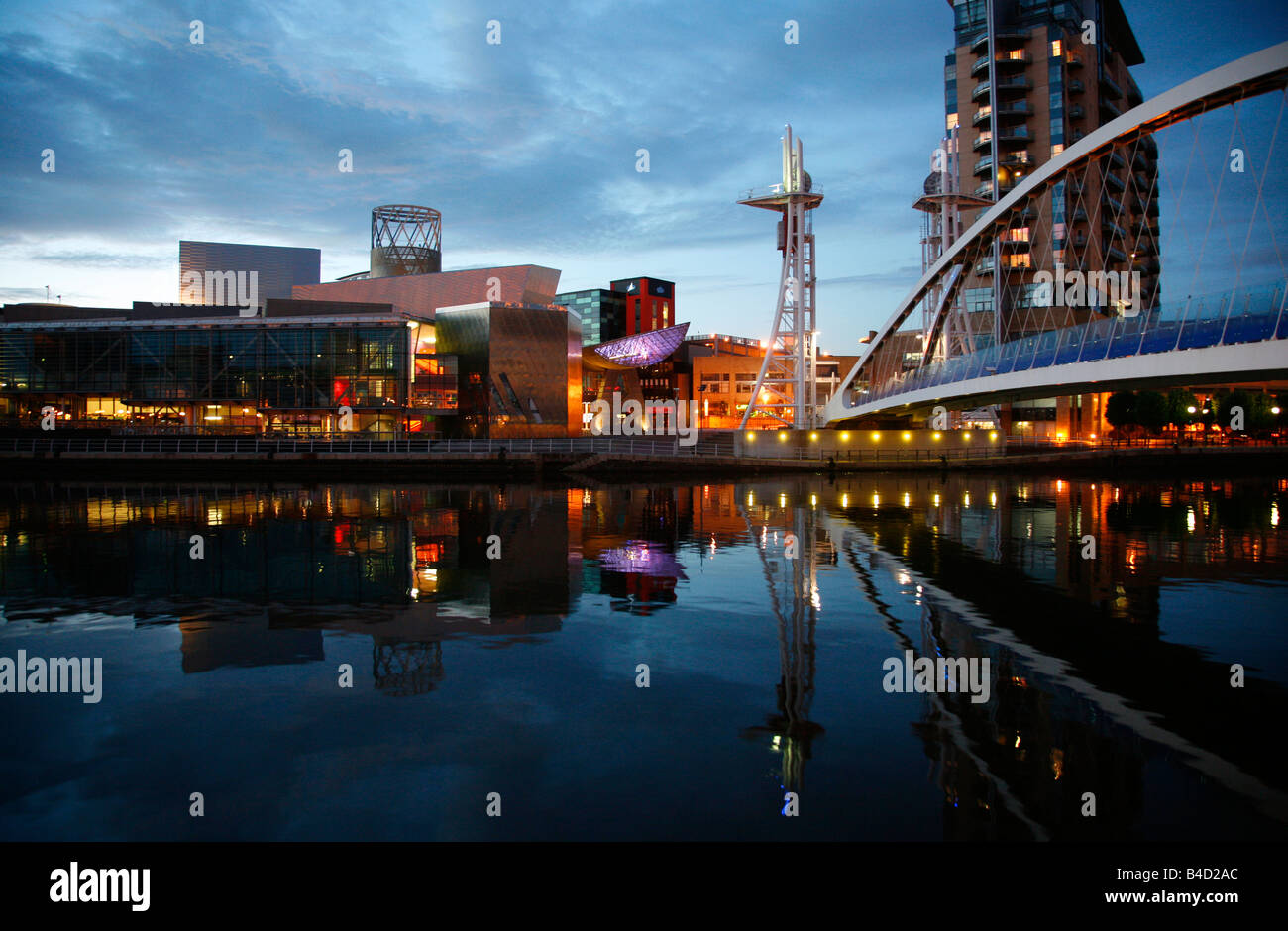 July 2008 - The millenium Bridge and Lowry at Salford Quays Manchester England UK - Stock Image