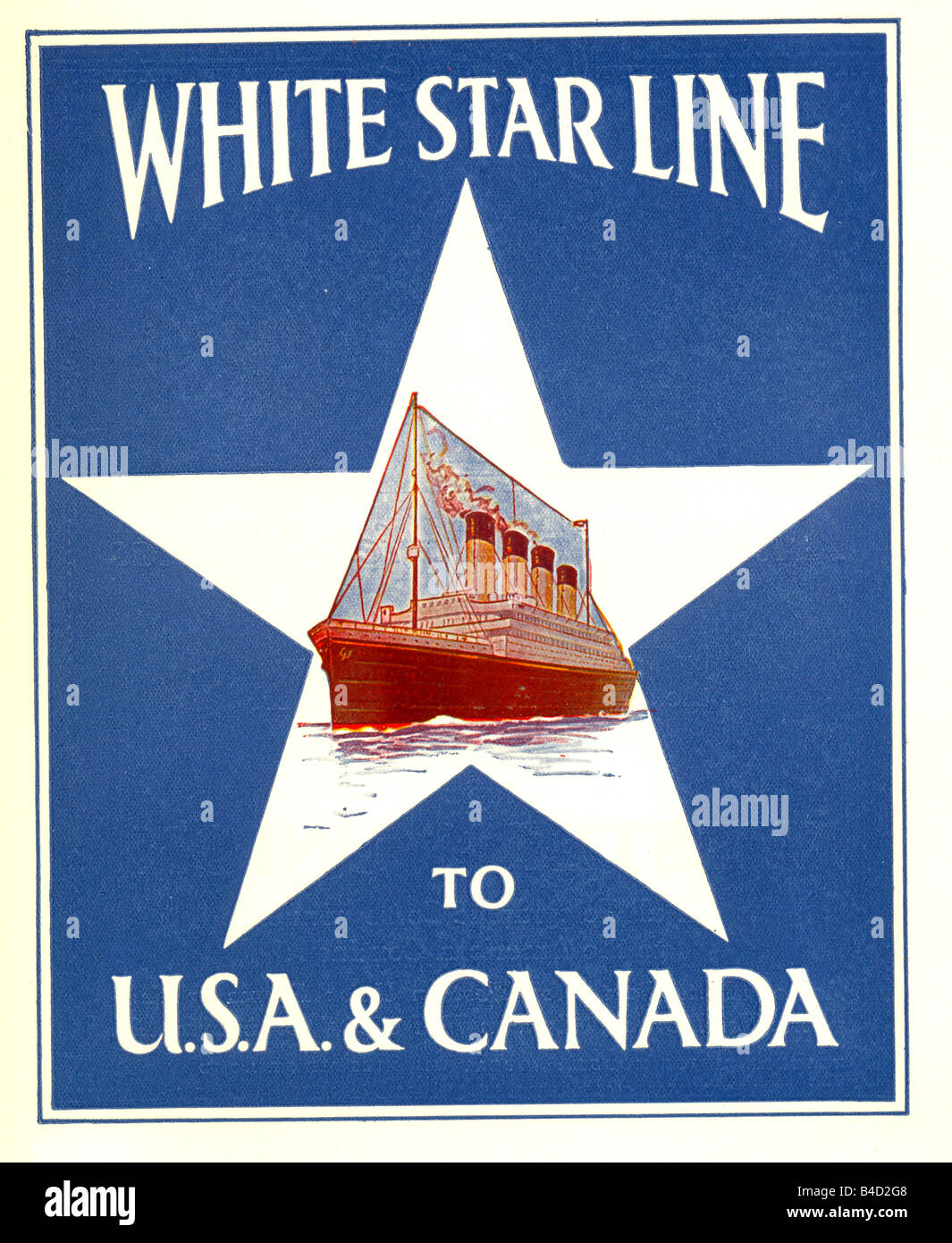 Advertisement for the White Star Line to USA and Canada circa 1935 - Stock Image