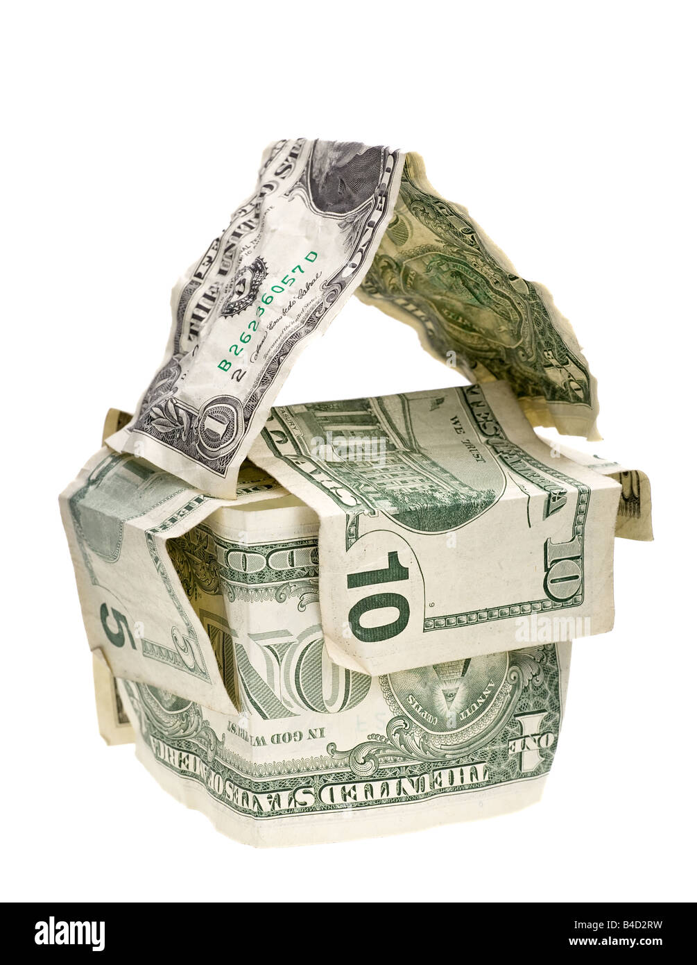 a house from crumpled dollar banknotes Stock Photo