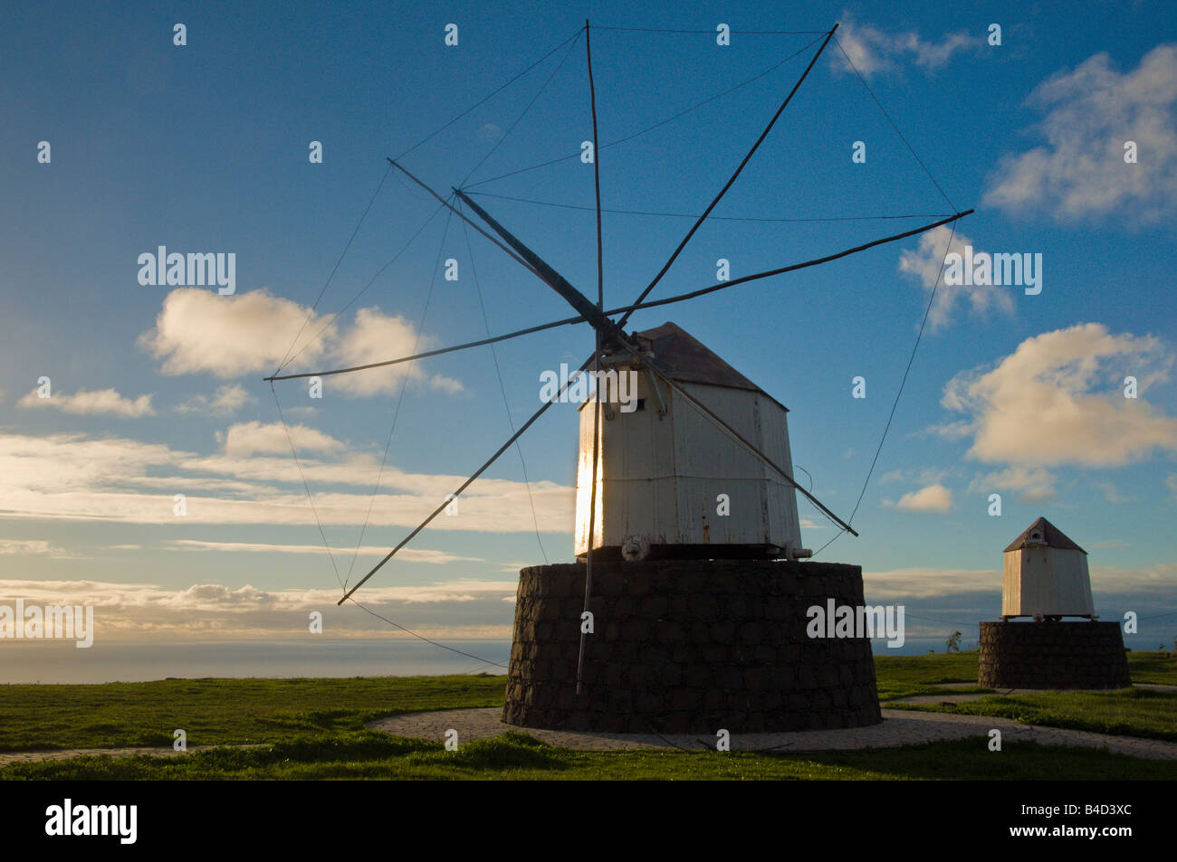 Windmills on Porto Santo Madeira islands - Stock Image