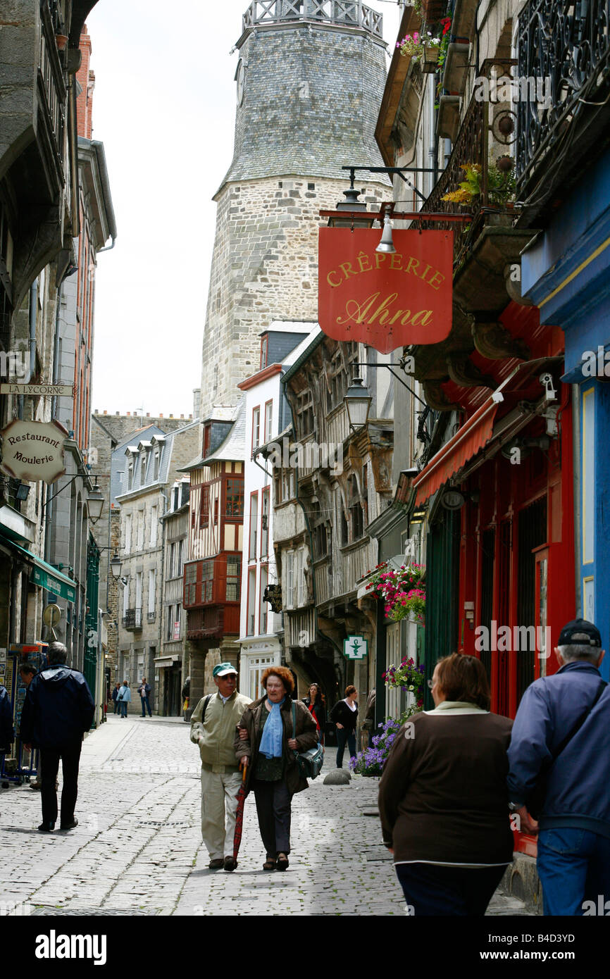 July 2008 - Half timbered houses in the old town of Dinan Brittany France - Stock Image
