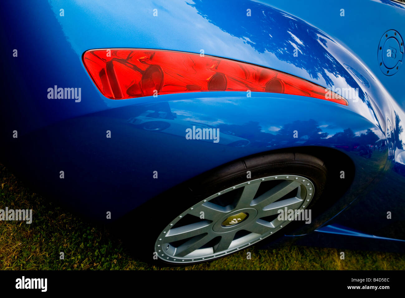 1999 Bugatti Chiron 18.3 rear wing and wheel, Cartier Style et Luxe display, Goodwood Festival of Speed, Sussex, - Stock Image