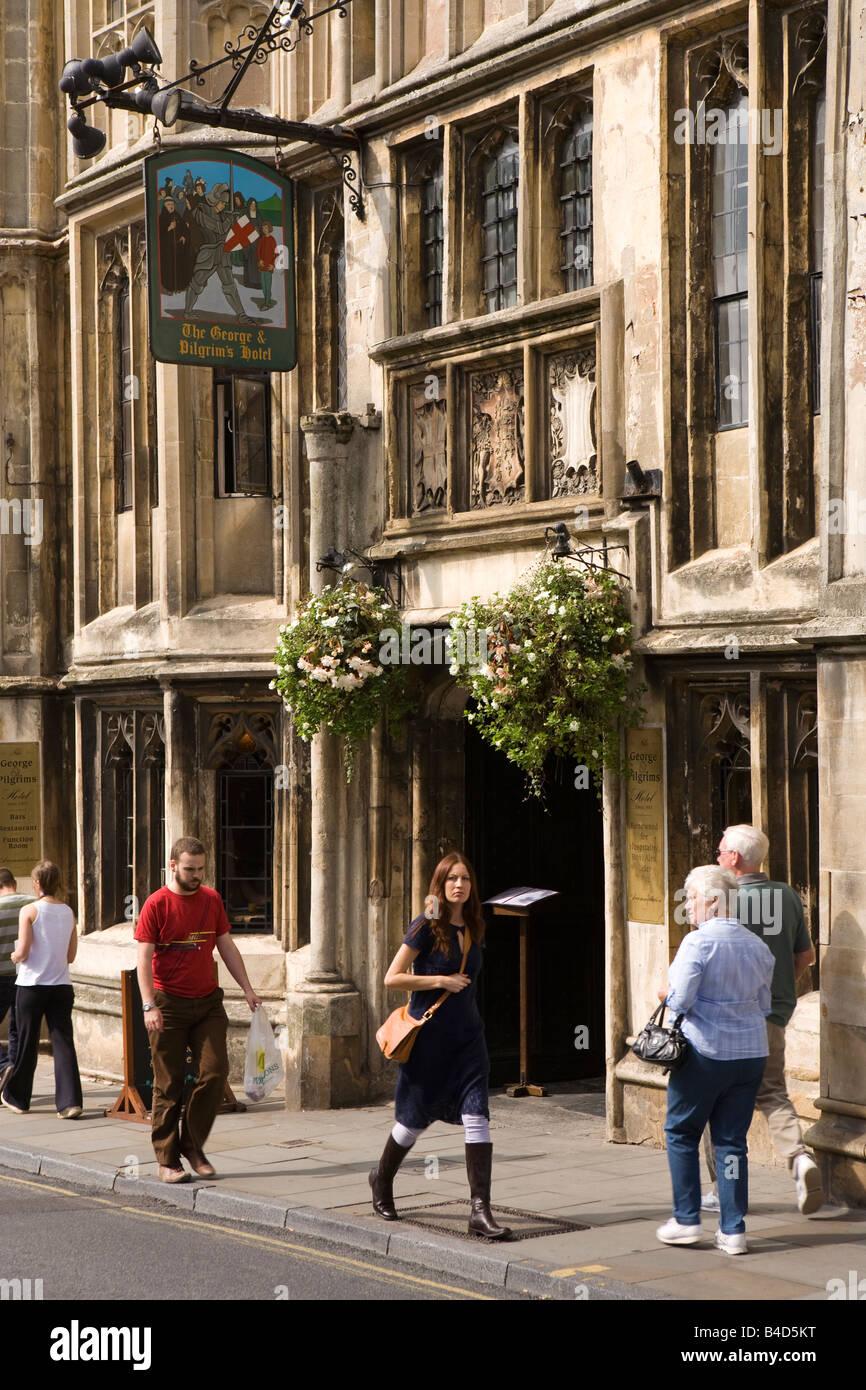 UK England Somerset Glastonbury High Street George and Pilgrims Hotel - Stock Image