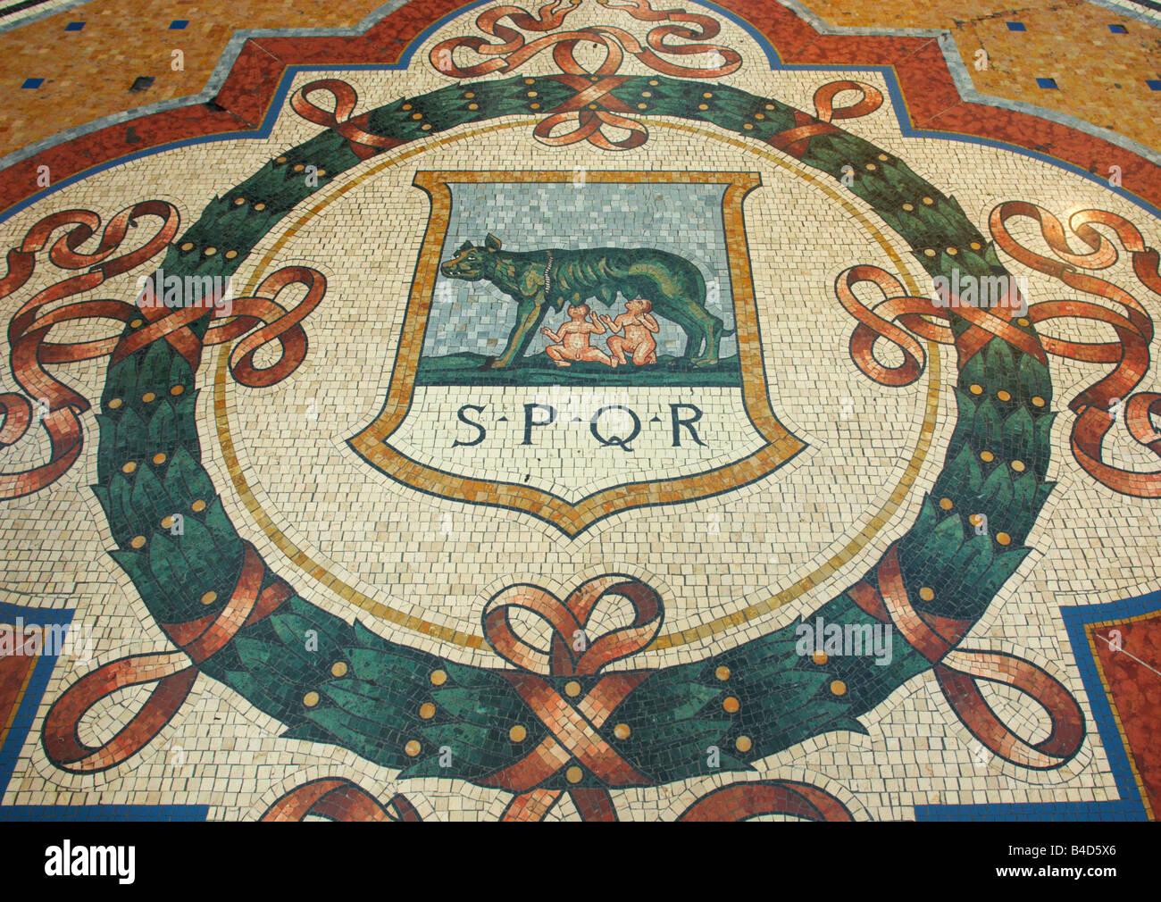 Romulus and Remus mosaic in Galleria Vittorio Emanuele II Milan Italy - Stock Image