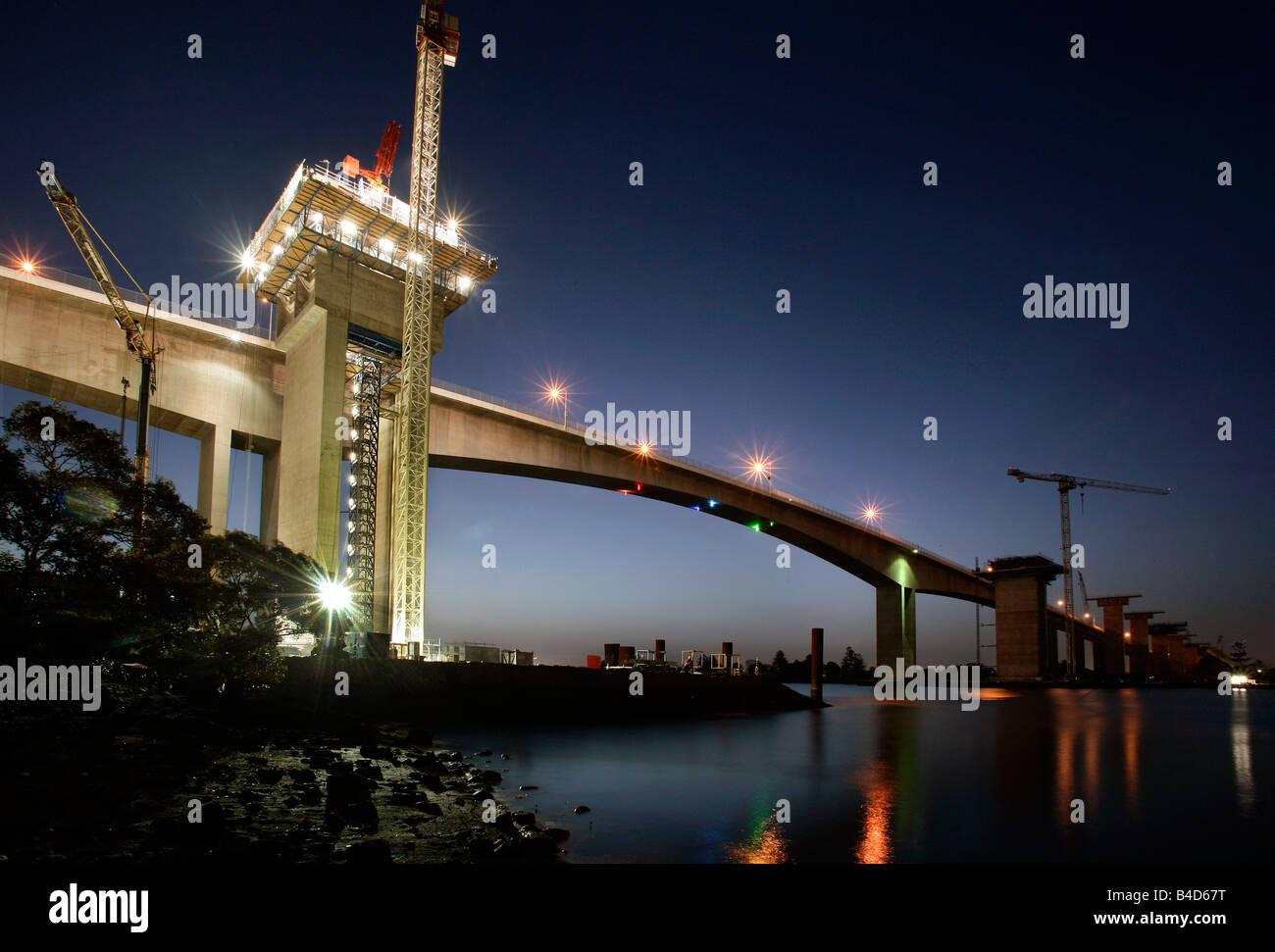 Australia, Brisbane, Gateway Upgrade Project, Construction of the second Gateway Bridge cross the Brisbane River - Stock Image