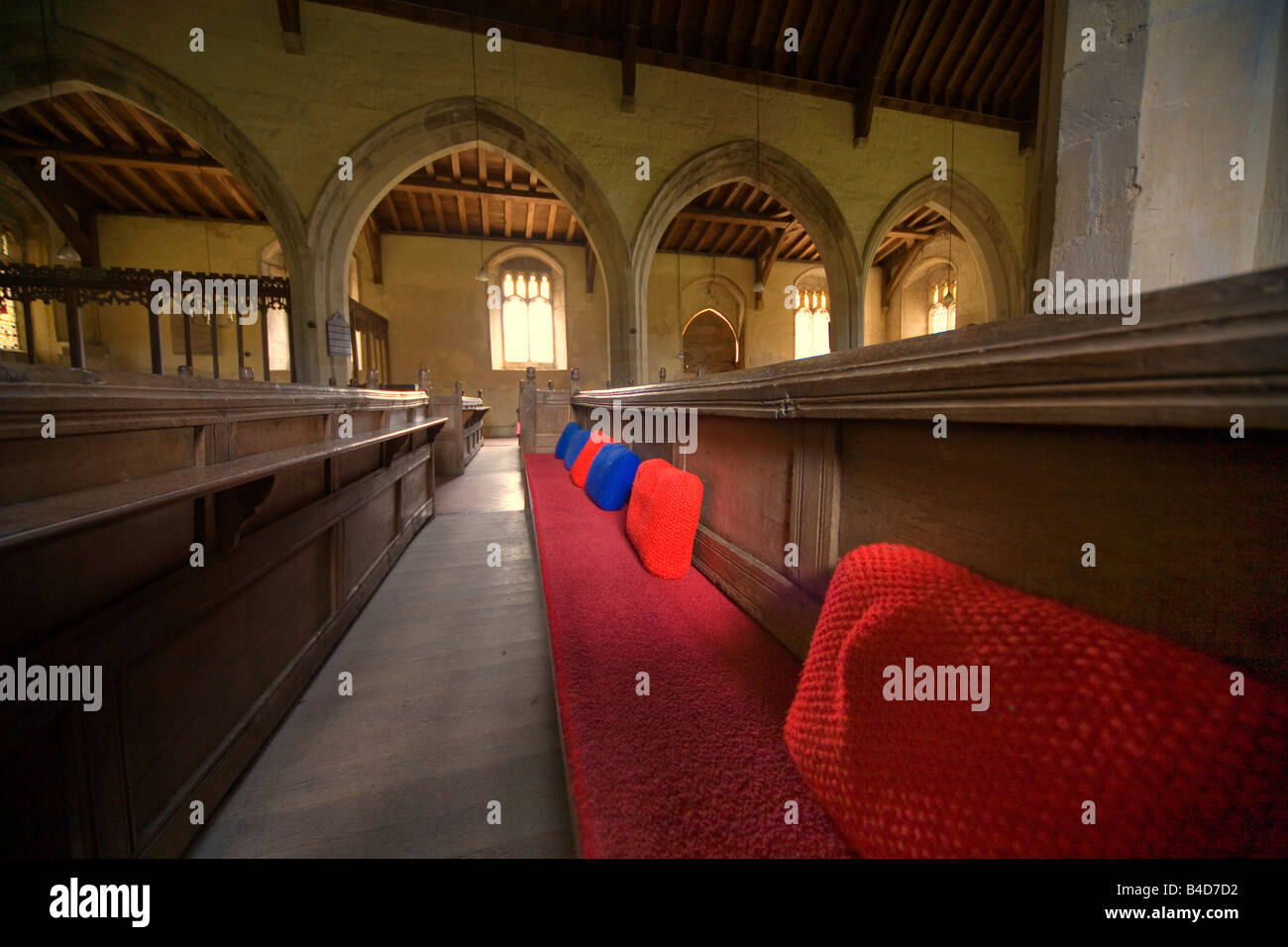 View along a church pew - Stock Image