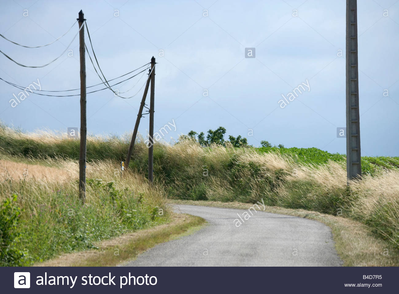 French Telephone Line Wiring Diagram Essig Outside Phone Jack Small Rural Countryside Road With Wires Stock Photo Box