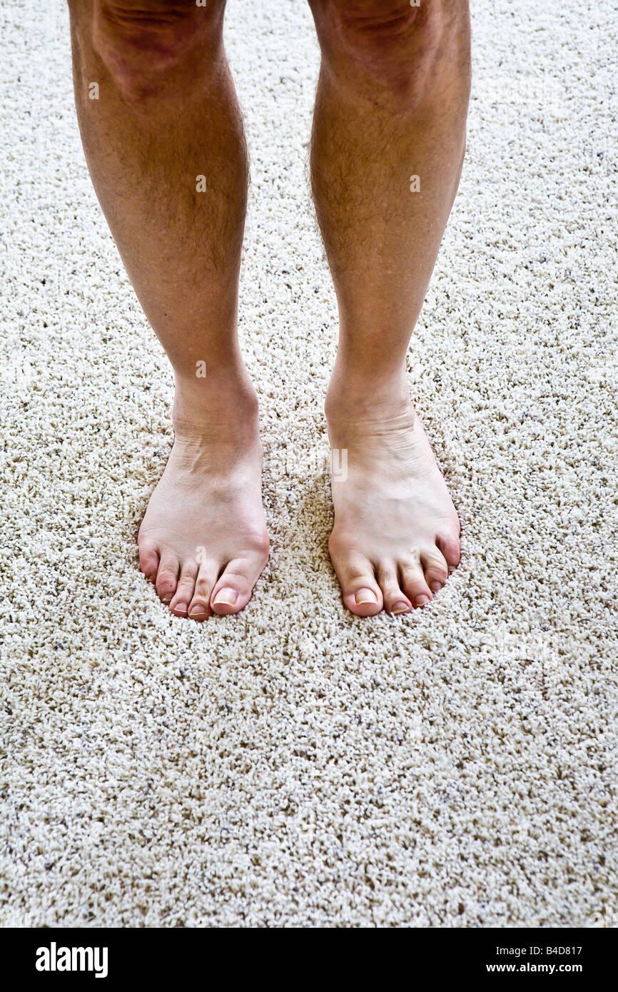 mature adult male's bare feet on carpet stock photo: 19960675 - alamy