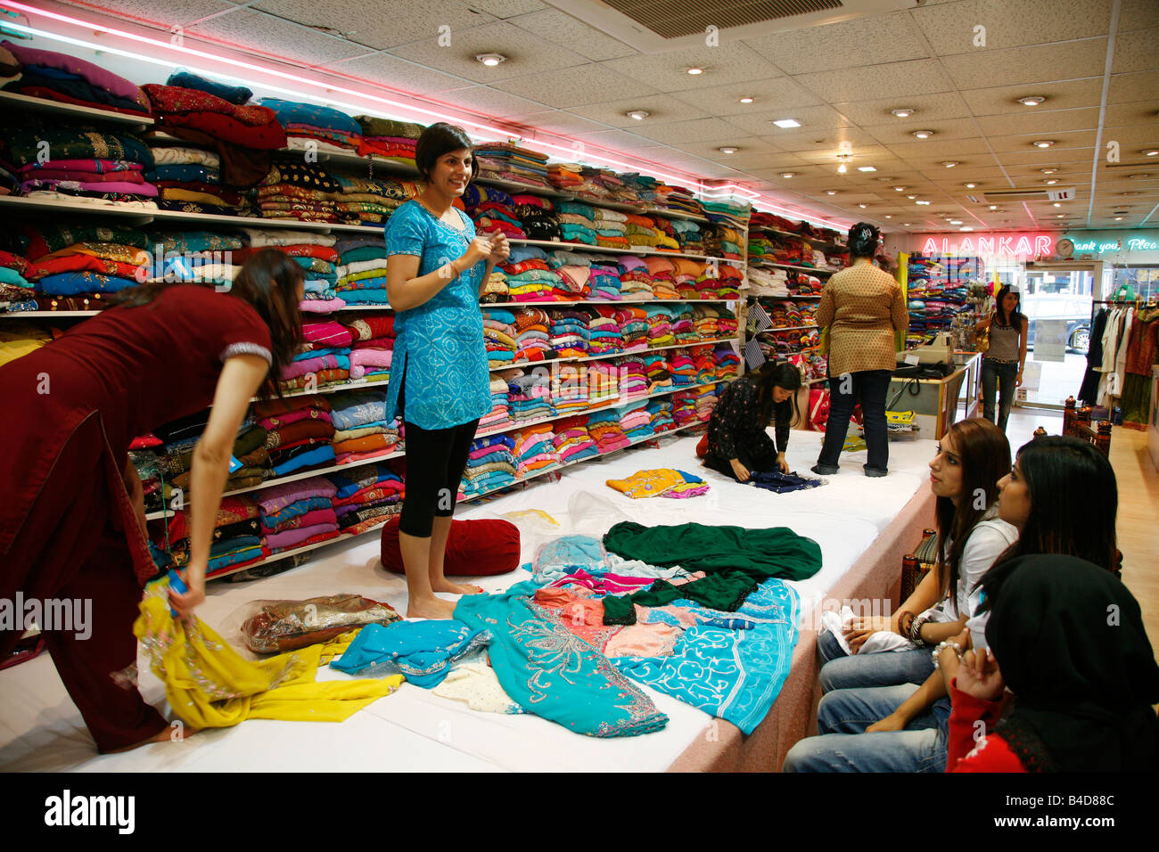 July 2008 saree shop at the rusholme area where many immigrants live manchester england uk