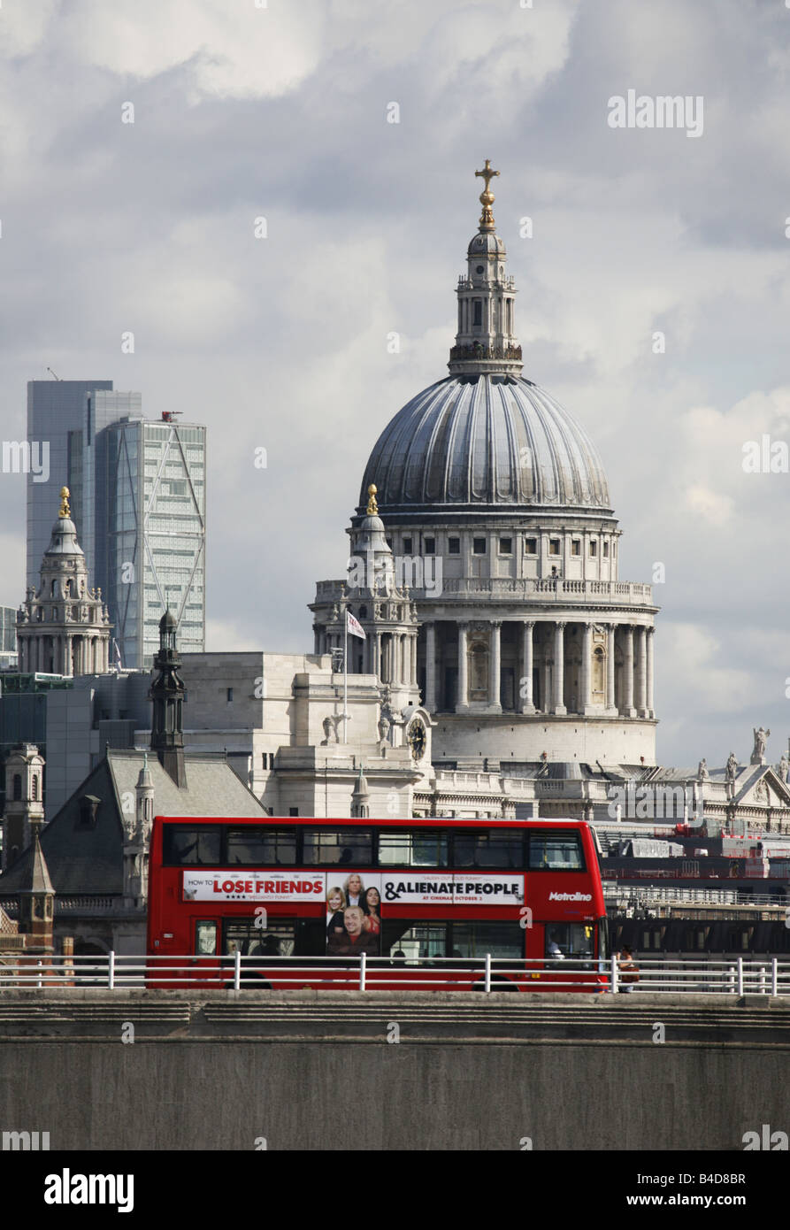 Saint Pauls Cathedral London Double Decker Red Bus on Waterloo Bridge Iconic Images of London Stock Photo