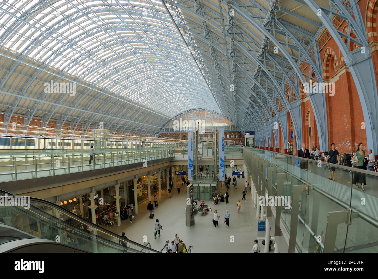 Interior of St Pancras Station,  London - Stock Image