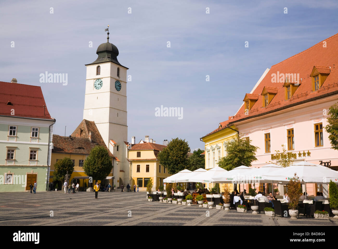 Sibiu Transylvania Romania Europe Old buildings and street cafe in Piata Mare in historic city centre of Hermannstadt - Stock Image