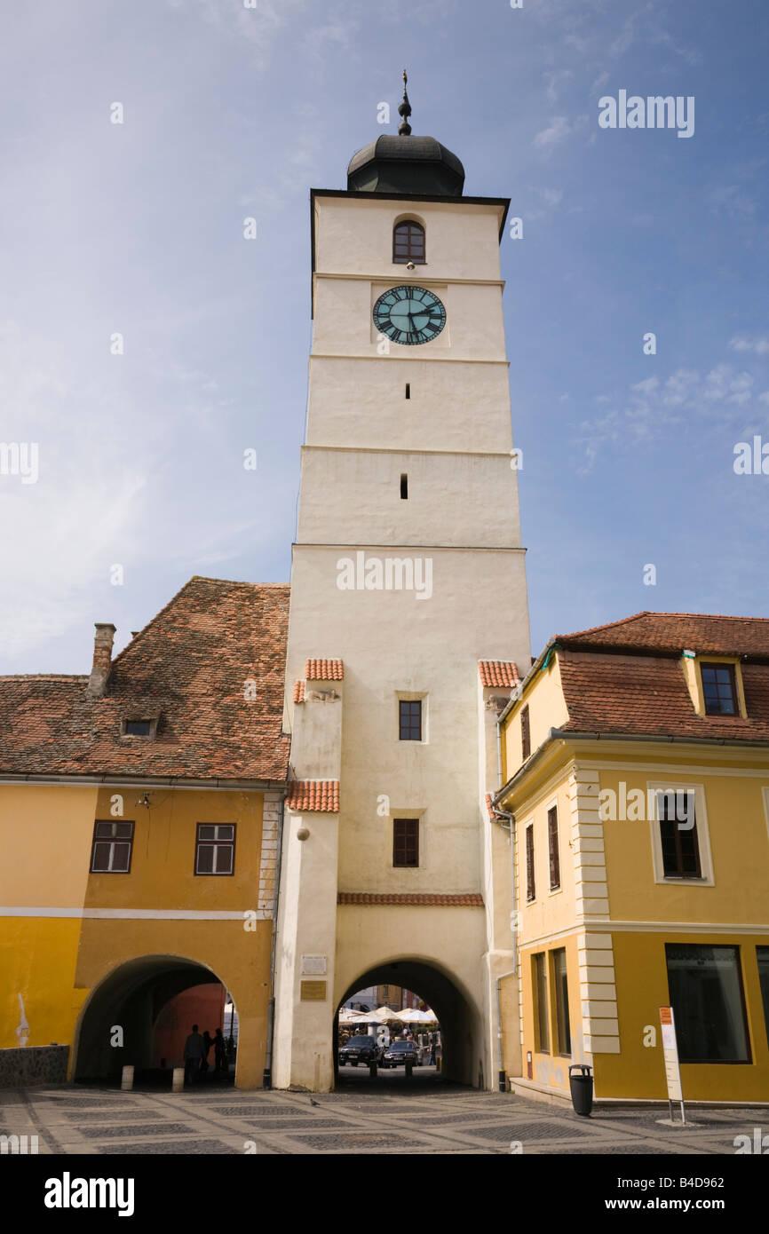 Sibiu Transylvania Romania Europe Council tower clock Turnul Sfatului in Piata Mare in historic city centre of Hermannstadt - Stock Image