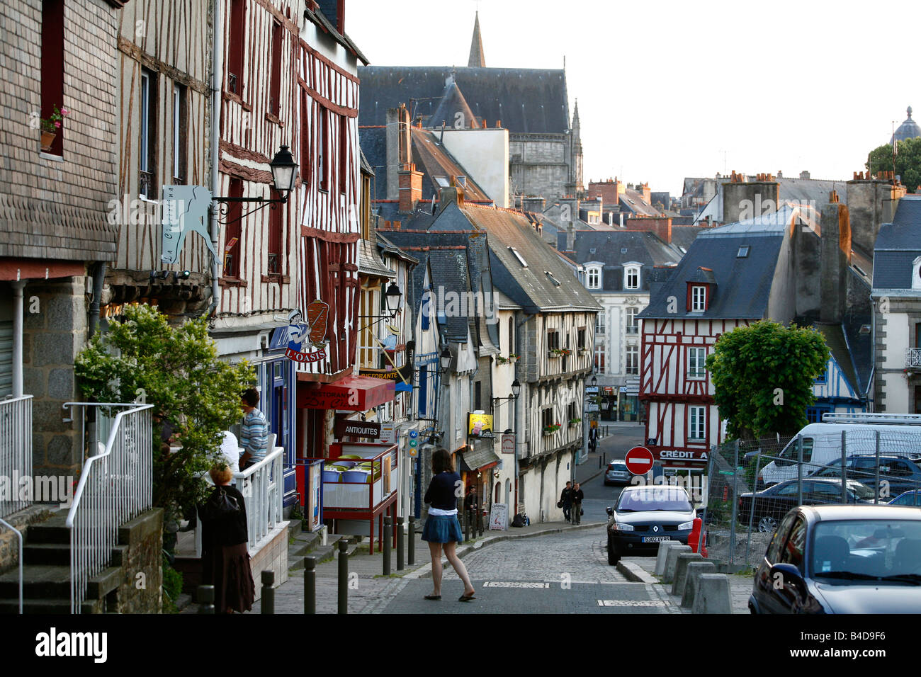 July 2008 - Half timbered houses in the old town of Vannes Brittany France - Stock Image