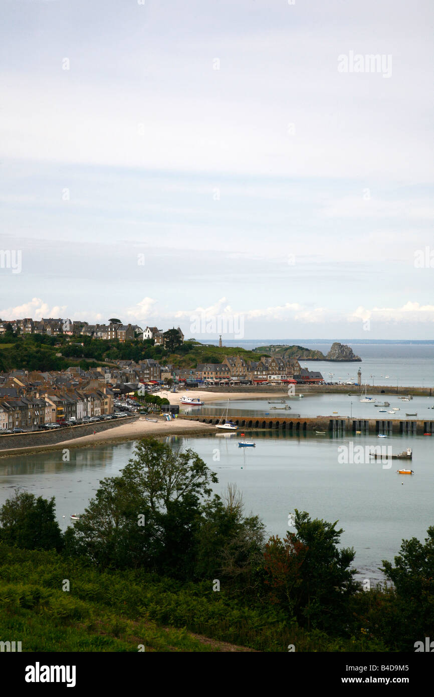 July 2008 - A view over the port twon Cancale Brittany France - Stock Image