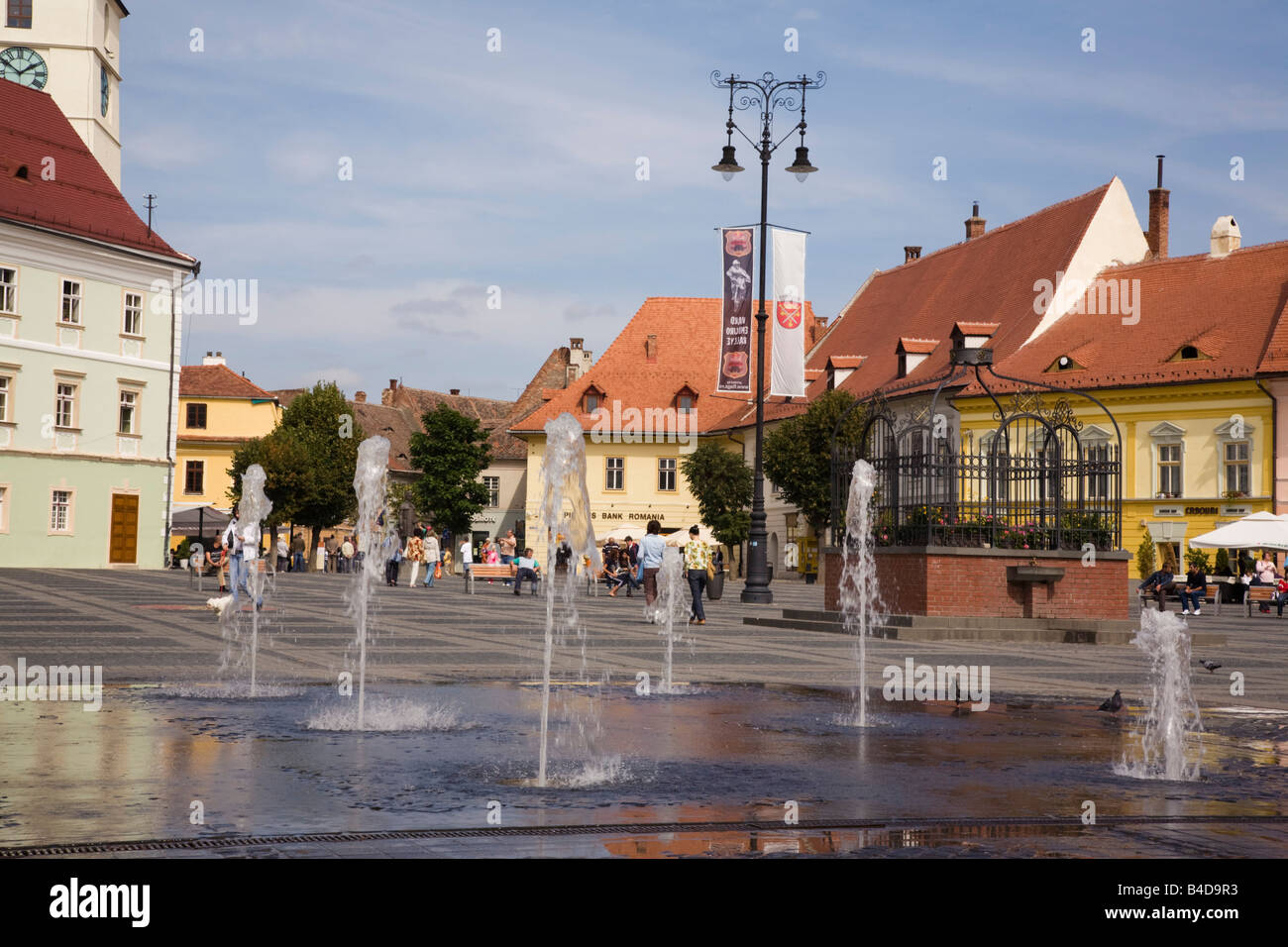 Sibiu Transylvania Romania Europe Old buildings and fountains in Piata Mare in historic city centre of Hermannstadt - Stock Image