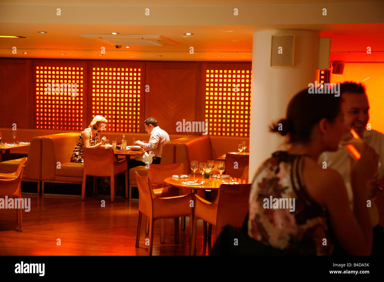 Aug 2008 - People at the trendy Pan acea restaurant and bar Manchester England UK Stock Photo