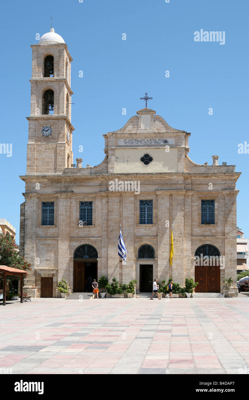 The Greek Orthodox Cathedral of the Presentation of the Virgin Mary Trimartiri in Hania Crete dating from 1860 Stock Photo