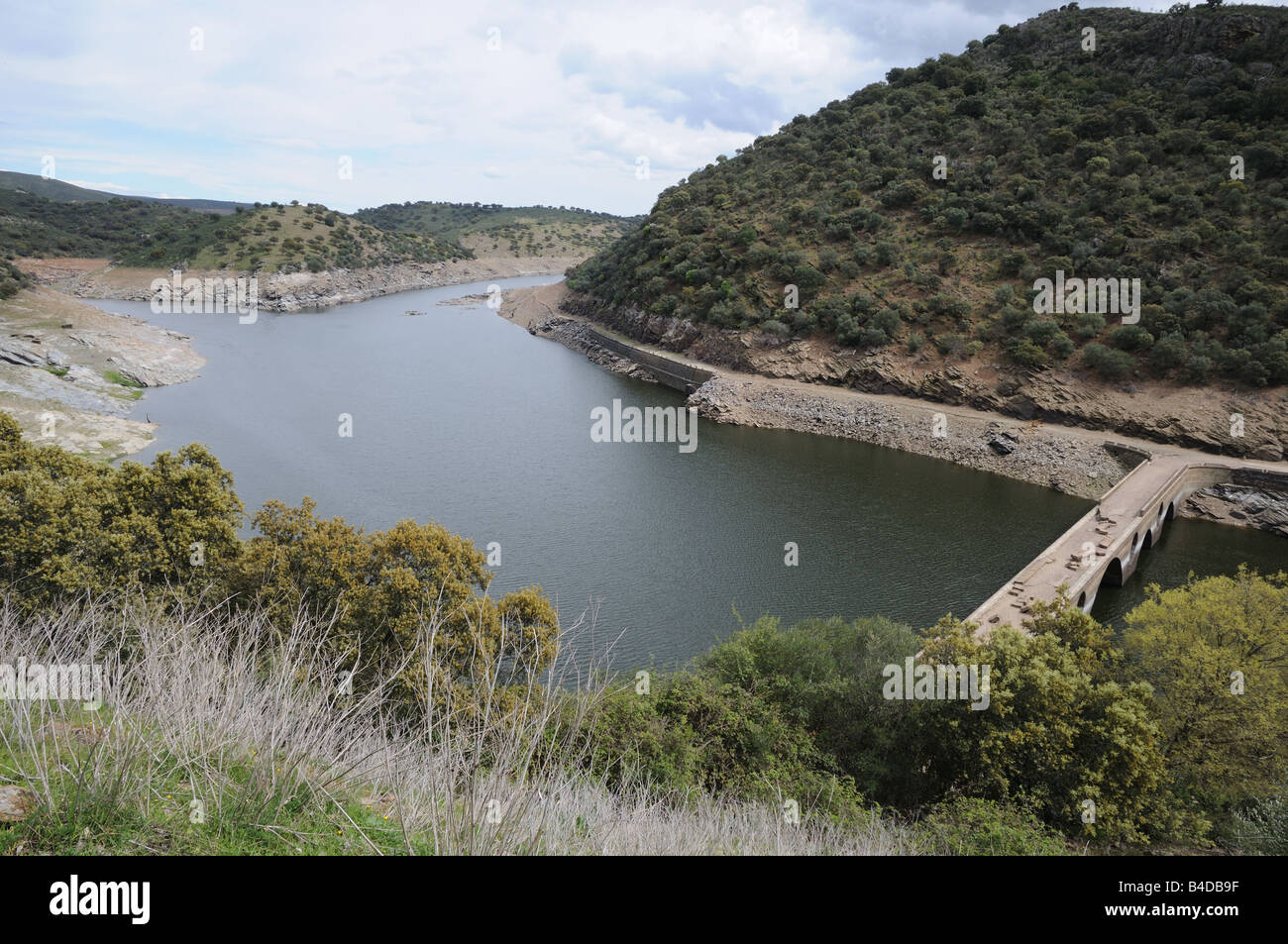 View of river Rio Tajo and valley with low level water during drought Spain - Stock Image