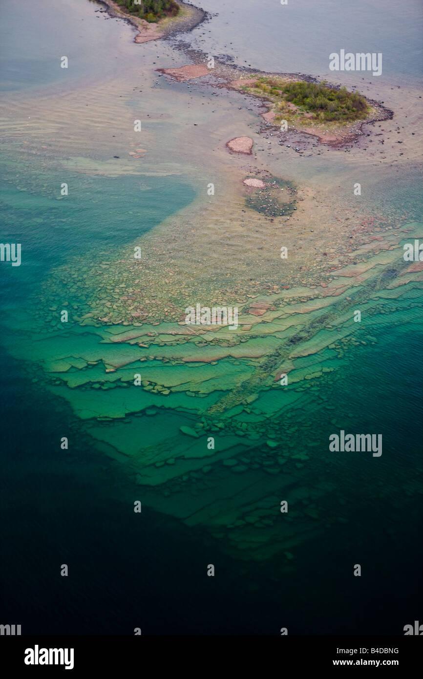 Aerial view of small rocky Islands, Lake Superior, Thunder Bay, Ontario, Canada. - Stock Image
