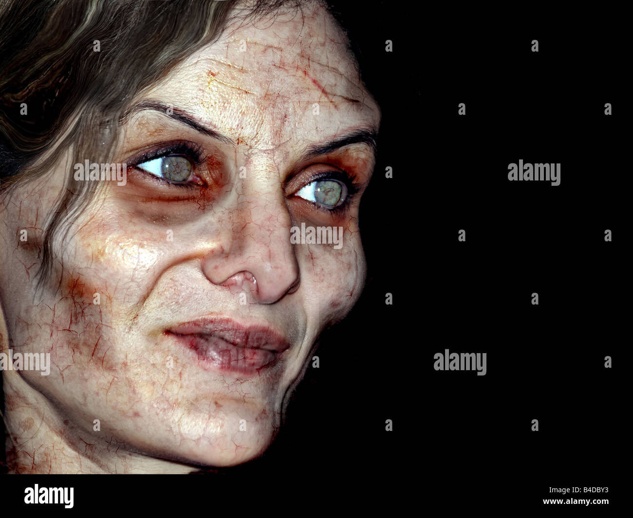 Portrait photo of a scary undead or zombie female human - Stock Image