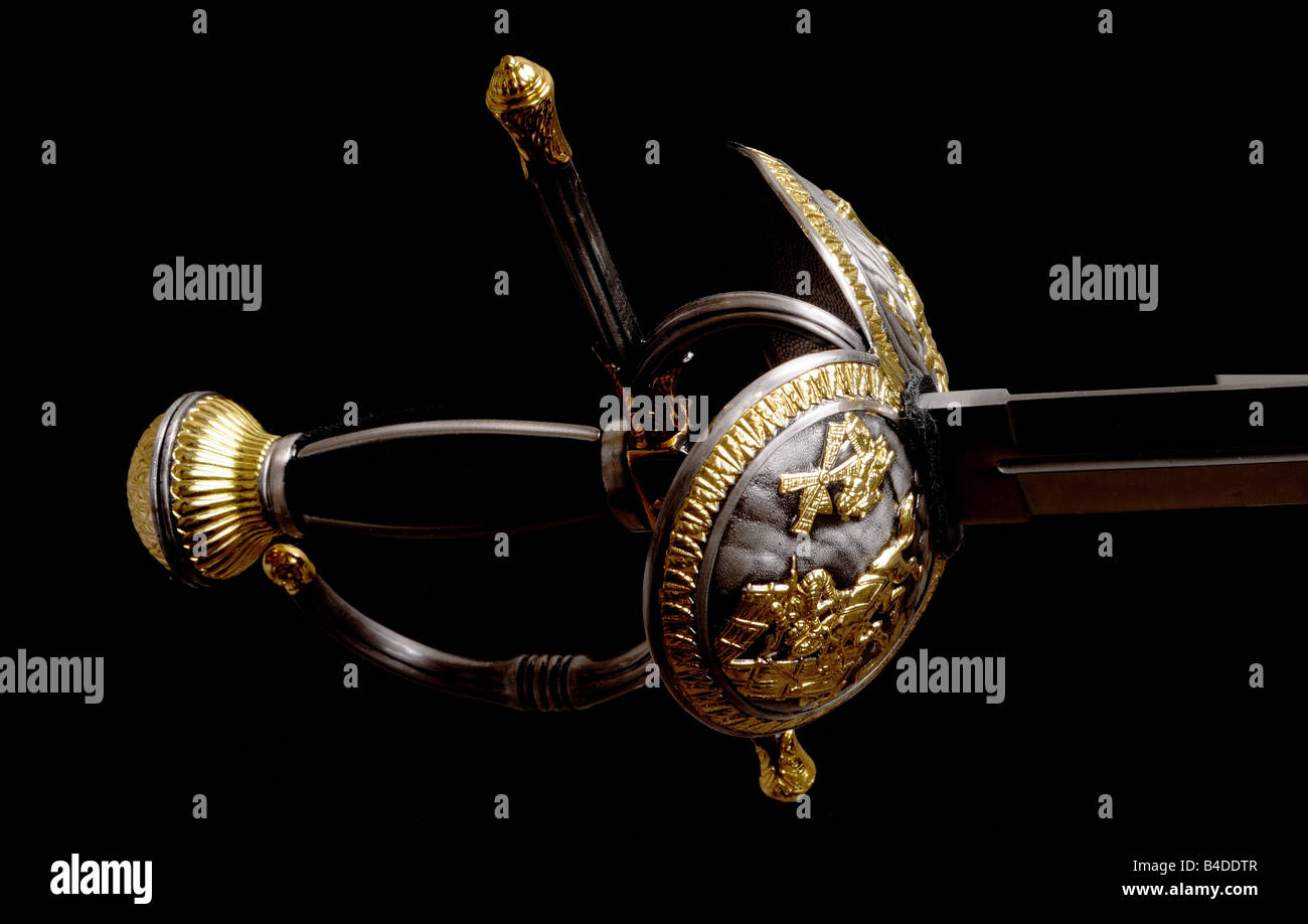 Sword hilt pommel blade and handle isolated over black - Stock Image