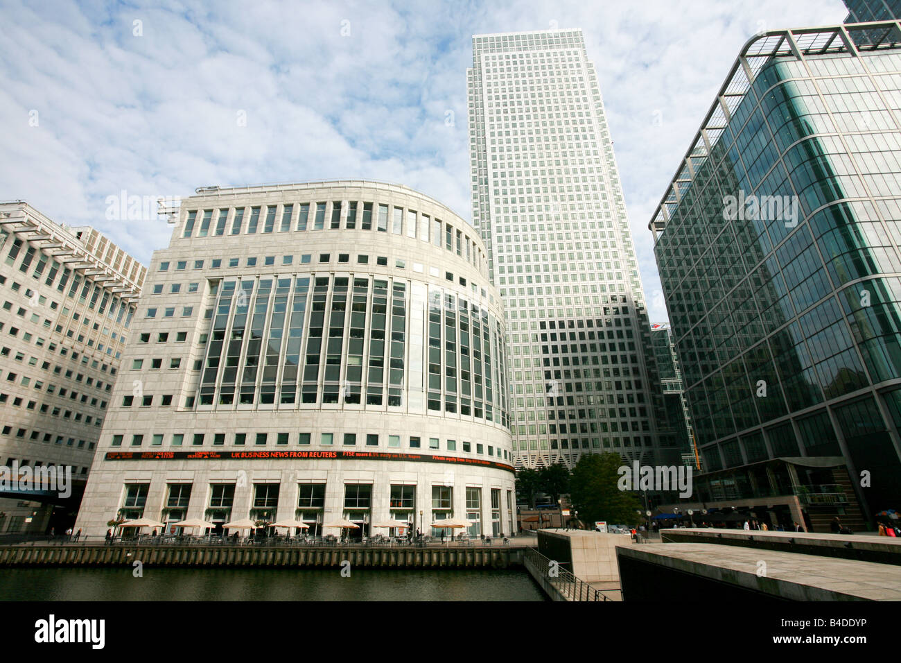 Reuters Plaza Canary Wharf London Docklands banking and financial area district, London UK - Stock Image