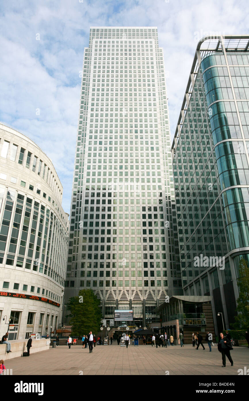 Reuters Building and Plaza Canary Wharf London Docklands banking and financial area district, London UK - Stock Image