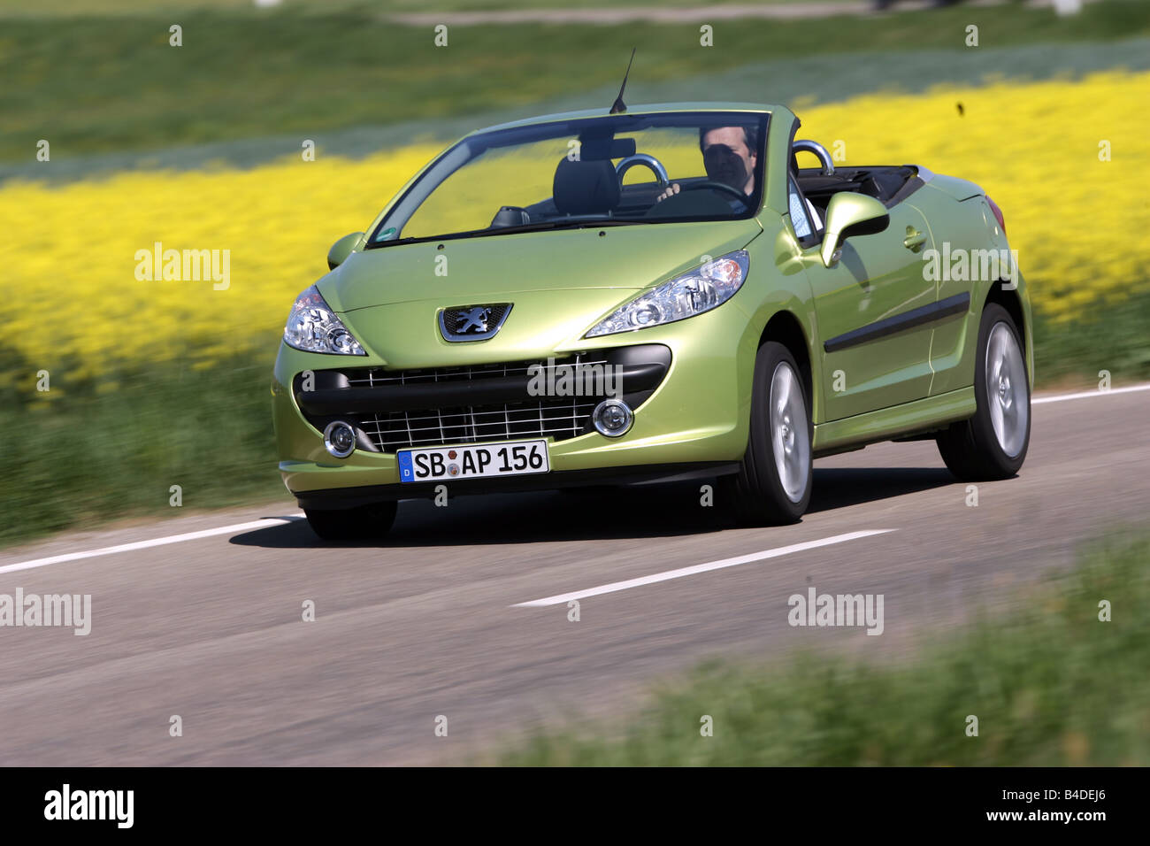 Peugeot 207 CC 120 Sport, Model Year 2007 , Green, Driving, Diagonal From  The Front, Frontal View, Country Road, Open Top