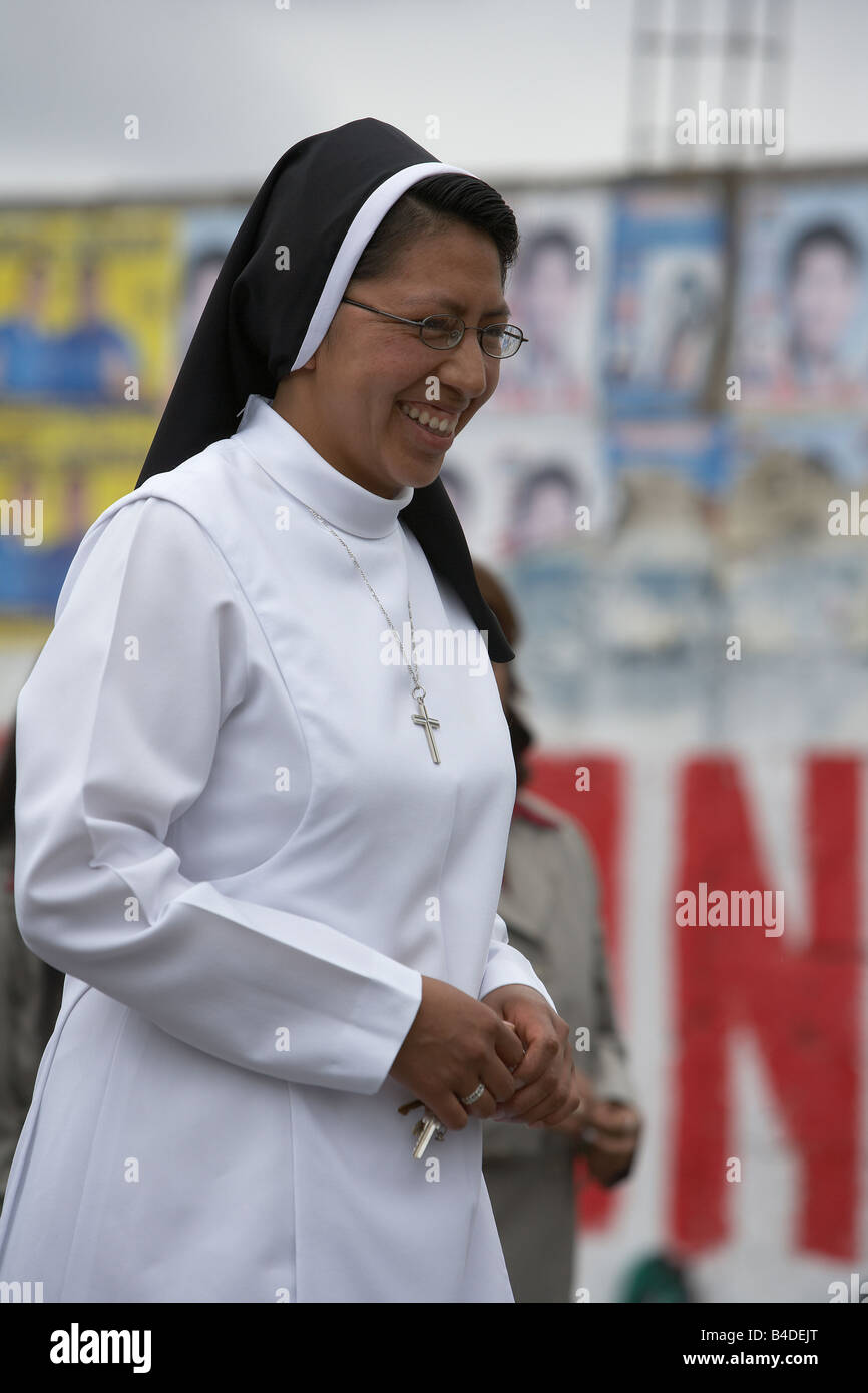 Nun at local school Parade, Saquisili,Ecuador - Stock Image
