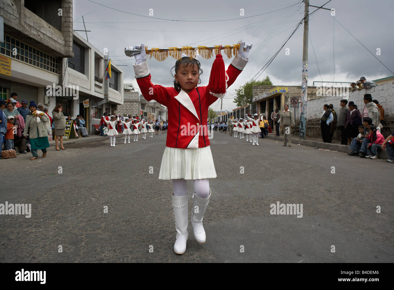 School Girl at Local Parade,  Saquisili,Ecuador - Stock Image