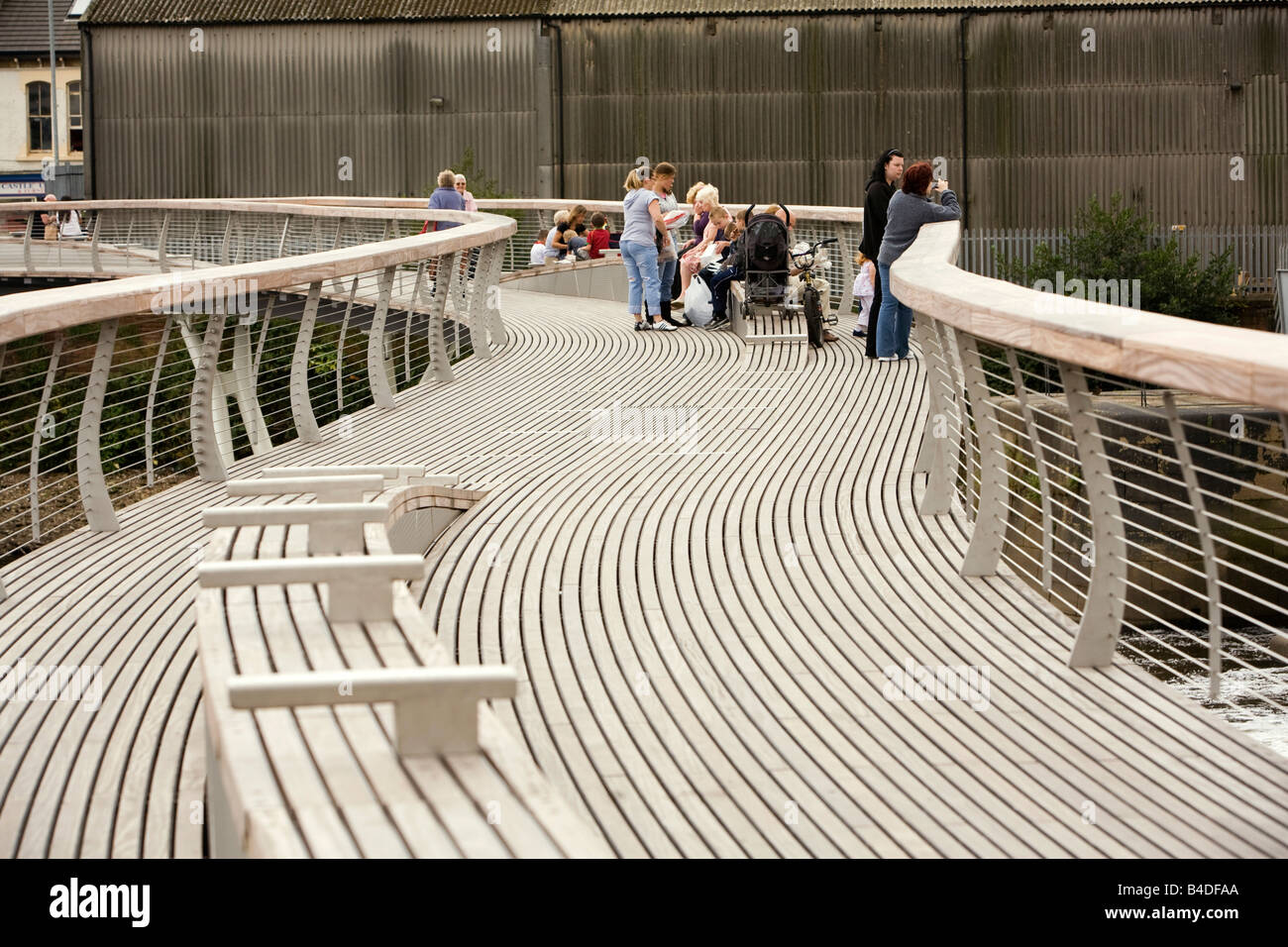 UK Yorkshire Castleford Grand Designs Big Town Plan new footbridge over River Aire Stock Photo