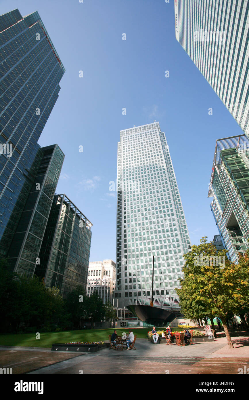 Modern high rise skyscrapers office buildings converge in Canada Square, Canary Wharf banking area London Docklands - Stock Image