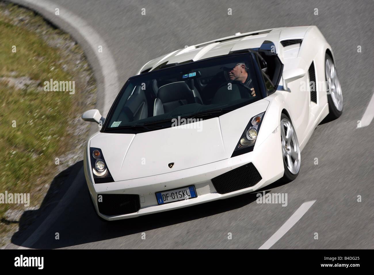 Lamborghini Gallardo Spyder Model Year 2005 White Driving Stock