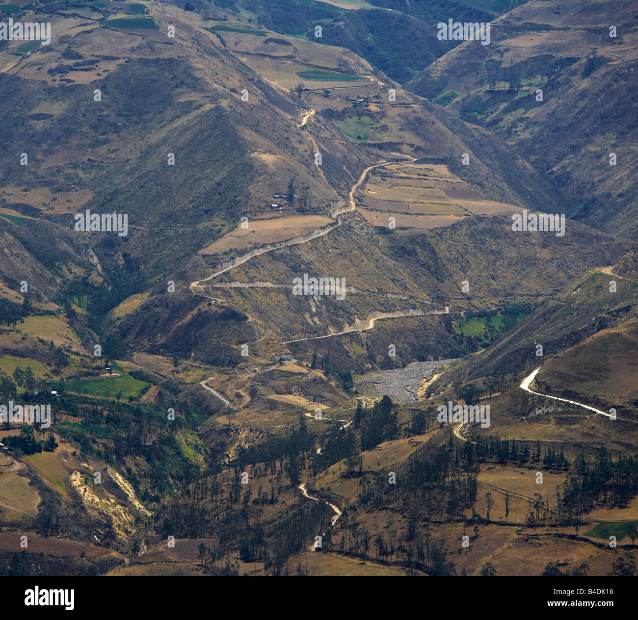 Roads and fields in small village, Alausi, in Andes Mountains, Ecuador - Stock Image