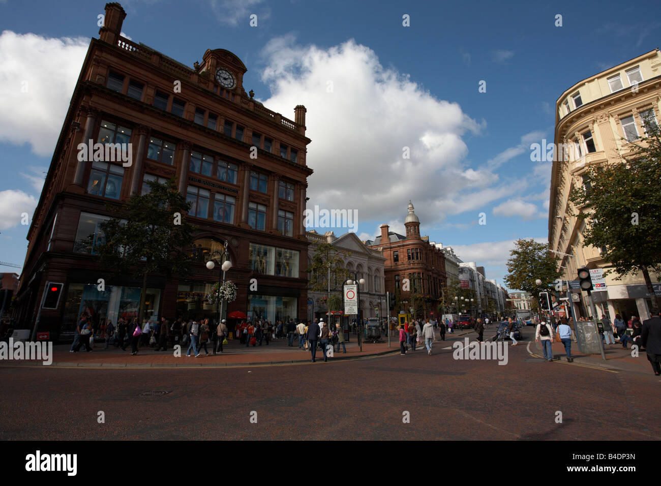 Bank Buildings at Castle Junction and Royal Avenue shopping area belfast city centre northern ireland uk - Stock Image