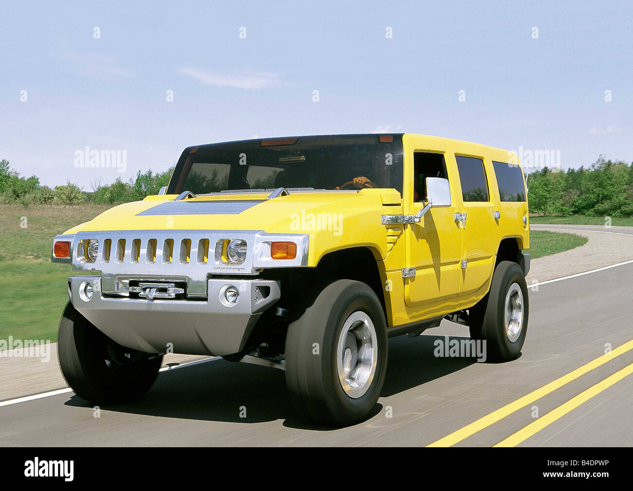 Car, Concept Cars General engines, Hummer H2, model year 2000, yellow, diagonal from the front, driving, ams 13/2000, - Stock Image