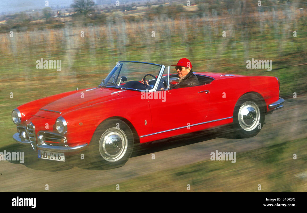Elegant Car, Alfa Romeo Guilietta Spider, Convertible, Vintage Approx., Model Year  1955 1962, 1950s, Sixties, Red, Driving, Diagonal Fro