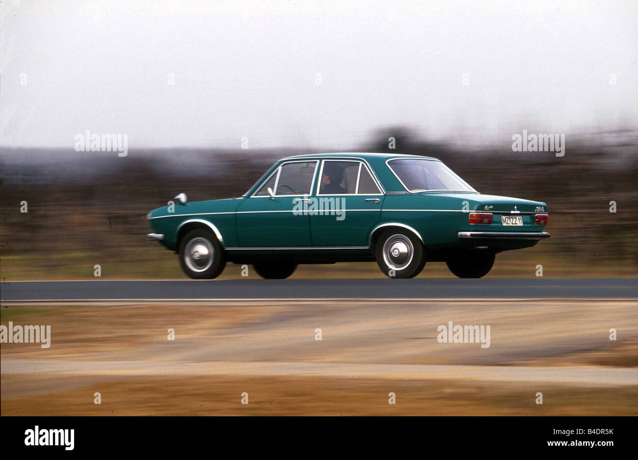 Car, Audi 100 LS, model year 1968-1976, Vintage approx., Youngtimer, sixties, The 70s, Limousine, four-door, bluish Stock Photo