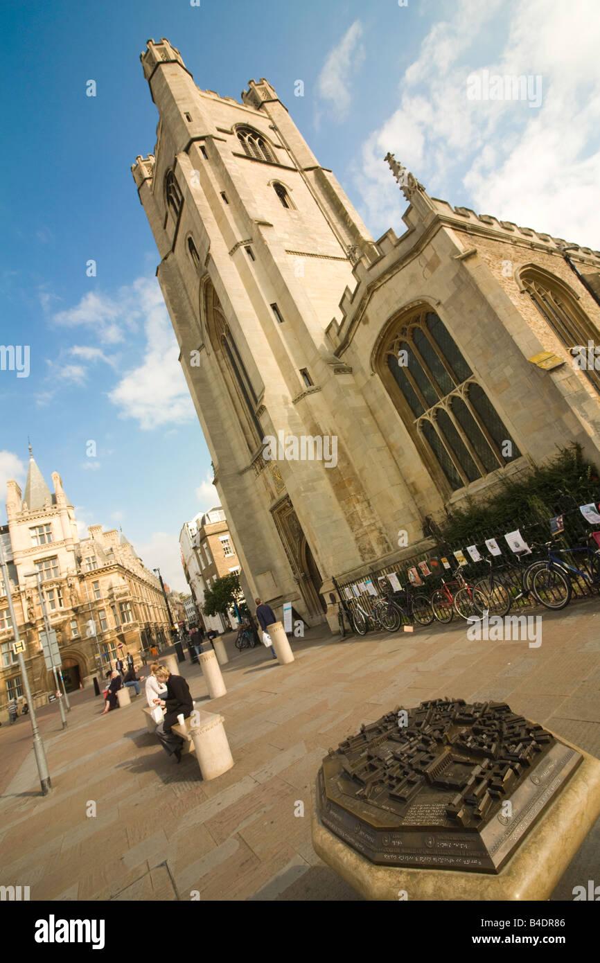Cambridge map and St Marys Church, 'Kings Parade', Cambridge England - Stock Image