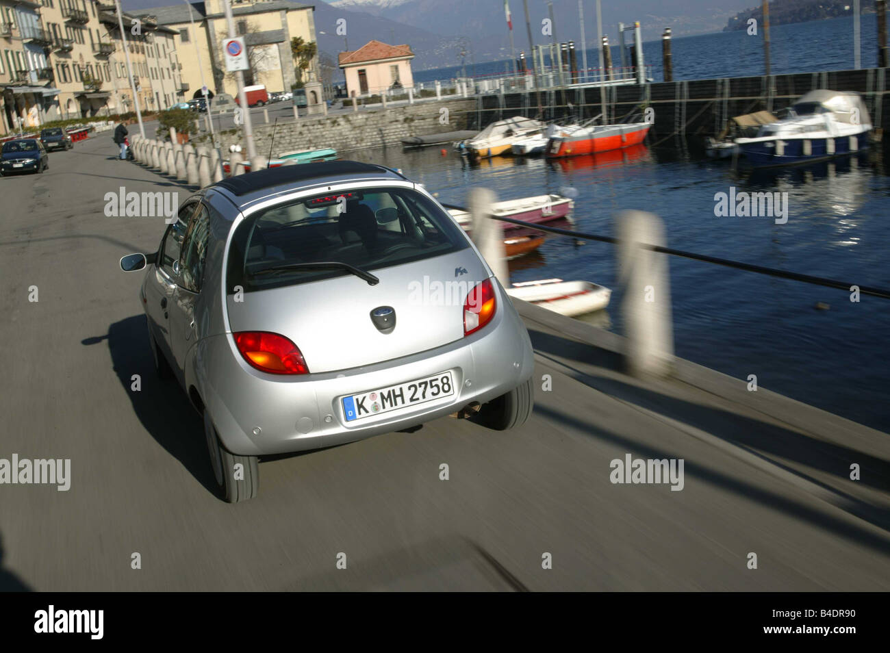 Car Ford Ka Miniapprox S Model Year  Limousine Silver Diagonal From The Back Rear View Driving City Harbour