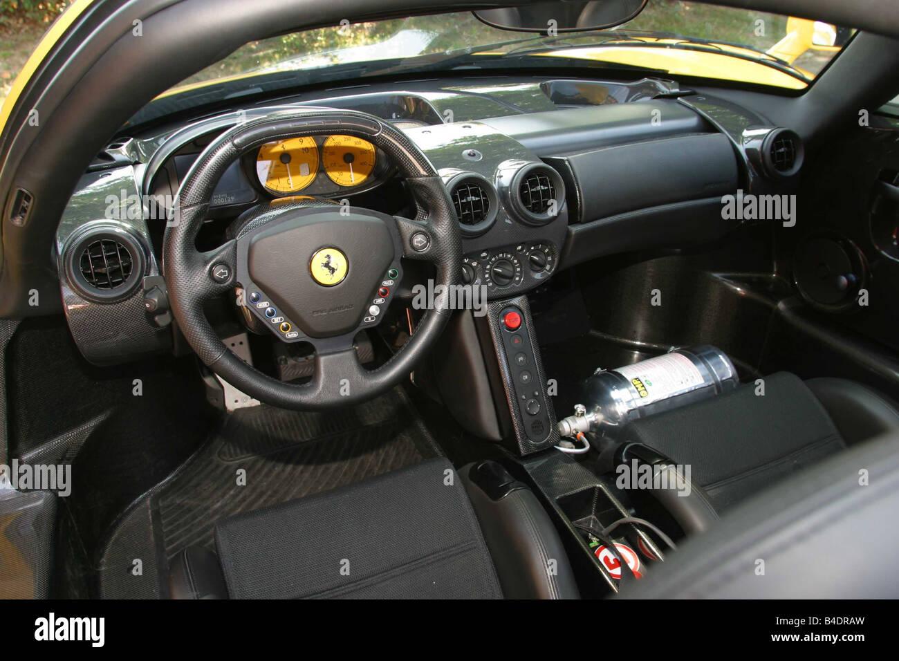 Car, Ferrari Enzo Ferrari, roadster, coupe, model year 2002-, yellow, interior view, Interior view, Cockpit, technique/accessory - Stock Image