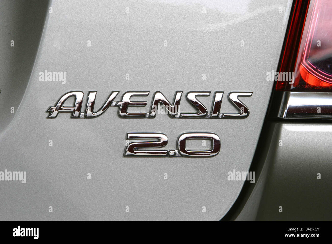 Car, Toyota Avensis, model year 2003-, Limousine, medium class, silver, Detailed view, Model designation - Stock Image