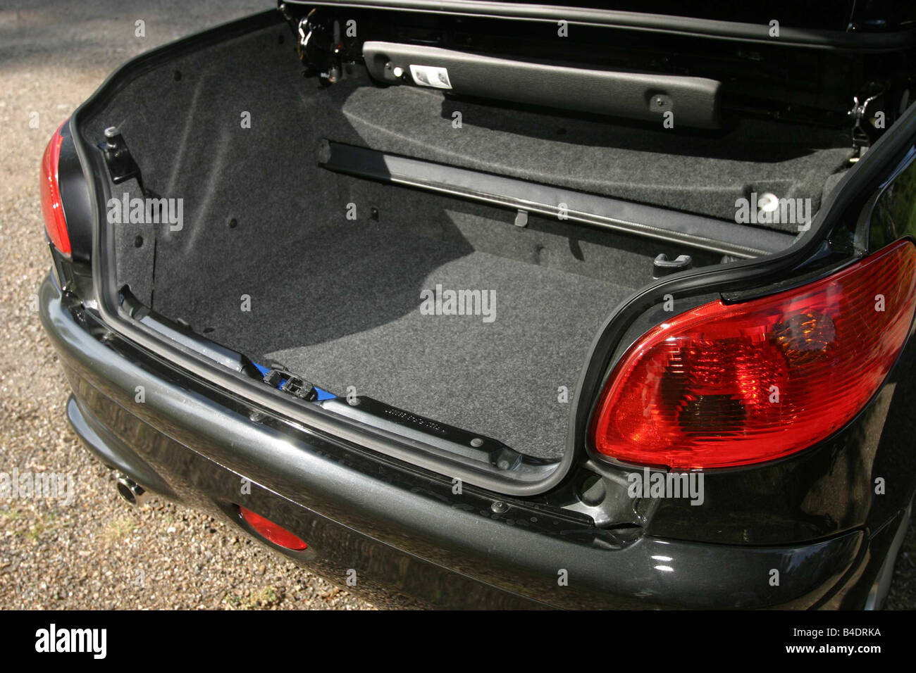 Car, Peugeot 206 CC, Convertible, model year 2000-, black, open top, view into boot, technique/accessory, accessories Stock Photo