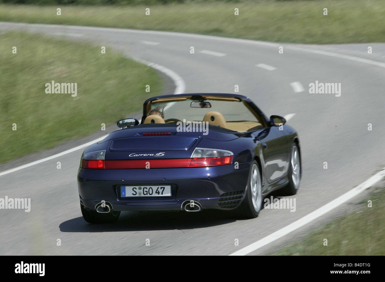 Car Porsche Carrera 4s Convertible Blue Open Top Driving Stock