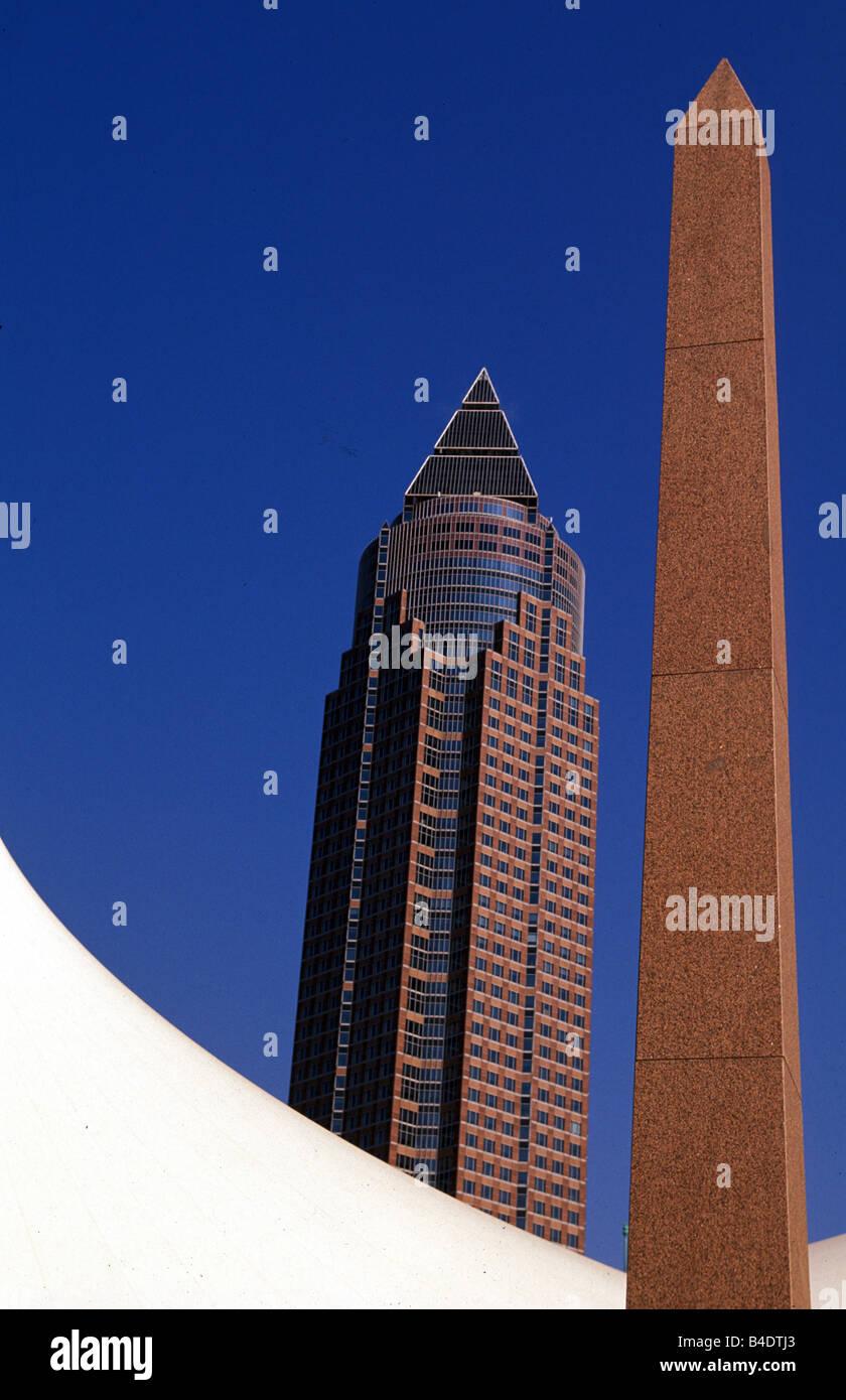 Car, Frankfurt, Measuring tower, Landmarks of Frankfurt - Stock Image