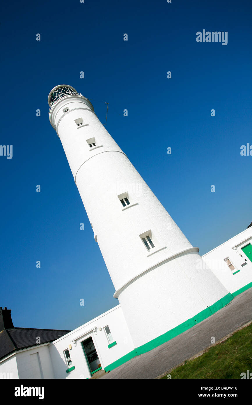 Nash Point Lighthouse on Glamorgan Heritage Coastal path overlooking the Bristol Channel unusual view angle Wales - Stock Image